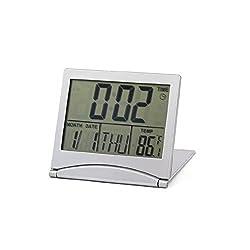 Samshow Foldable Date Temperature Time LCD Display Digital Desk Alarm Clock