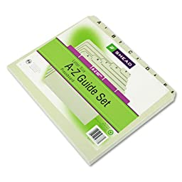 Smead® - Recycled Top Tab File Guides, Alpha, 1/5 Tab, Pressboard, Letter, 25/Set - Sold As 1 Set - Break your file drawers into easily-spotted smaller groups with these alphabetical, daily and monthly indexed sets.