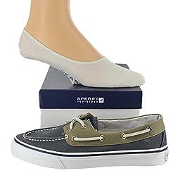 Sperry Men\'s Bahama Shoe with FREE No Show Socks Bundle Navy/Khaki size 12M (US)