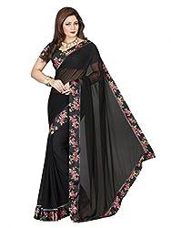 Vishal Black Georgette Saree with Blouse Piece