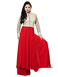 Momai Creation Women's Faux Georgette Red Unstitched Dress Material (MCV-LT-12)
