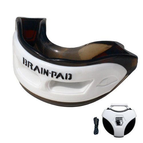 Brain Pad Youth Triple Laminated Mouthguard Strap/Strapless Combo with Special Formulated Super Gel Pads, XXX Small, Black/White