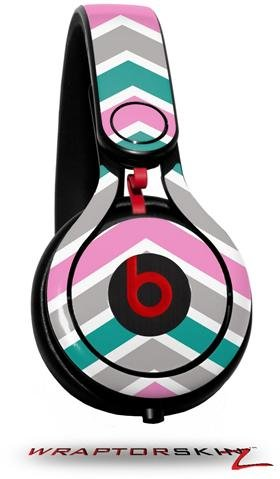 Zig Zag Teal Pink And Gray Decal Style Skin (Fits Genuine Beats Mixr Headphones - Headphones Not Included)