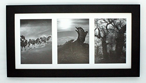 Golden State Art, 7×14 Black Photo Wood Collage Frame with Mat displays (3) 4″x6″ pictures