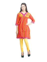 Rama Designer Cotton Orange Printed Women's Straight Kurta (14RAMA1421045)