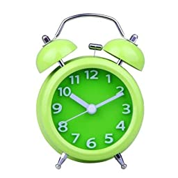 Small Fresh Style 4 inch Twin Bell Alarm Clock Mechanical Loud Stainless Steel#Green