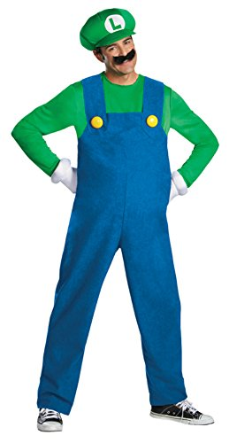 Disguise Mens Deluxe Super Mario Brothers Luigi Theme Party Costume