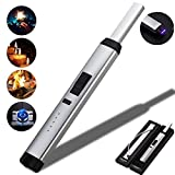 Candle Lighter Electronic USB Rechargeable Pulse Plasma Arc Lighter with Safety Lock and Power Indicator No Gas No Oil Windproof Lighter Perfect for Home Kitchen Fireworks Camping Stove (Silver) (Color: Silver)