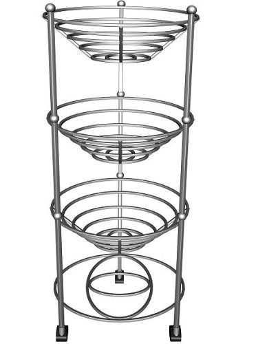 Axis Heavy Gauge Chrome Plated Steel Ready Assembled 3 Tier Vegetable Trolley 25cm x 33cm x 71.5cm