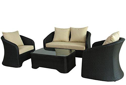 SVITA POLY RATTAN Lounge Gartenset SCHWARZ Sofa Garnitur Polyrattan Gartenmöbel Neu