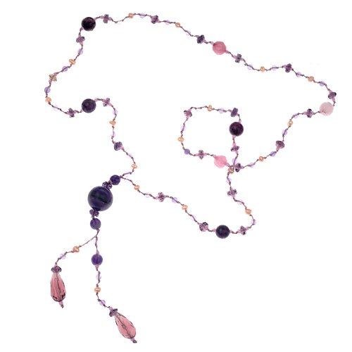 Purple, Pink and Lavender Gemstones Beads Y Drop Opera Length Long Necklace, 28 inches (Soul Gem Purple compare prices)