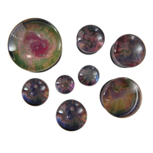 Planet Earth Style Double Flare Glass Plugs - 3/4