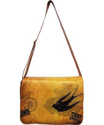 Lavishy Sparrow Antique Map Print Messenger Laptop Vegan Shoulder-bag Brown