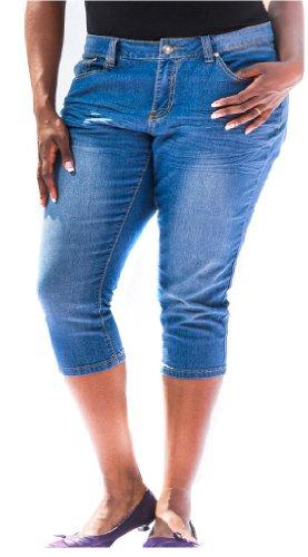 Jeans Colony Women'S Plus Size Denim Capris 20 Light Blue front-844881