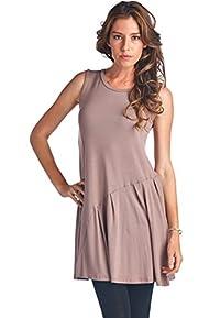 LeggingsQueen Women's Sleeveless Swing Dress Tunic Top