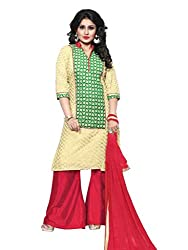 BanoRani womens Cream & Green Color Chicken Embroidery UnStitched Dress Material (Plazzo)