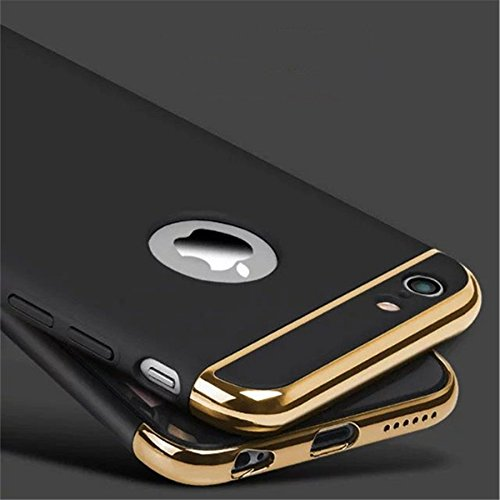 G M Brothers A230*3-in-1 Shockproof* Dual Layer Thin Back Cover Case For Apple iPhone 6/6S,(Black with Gold)