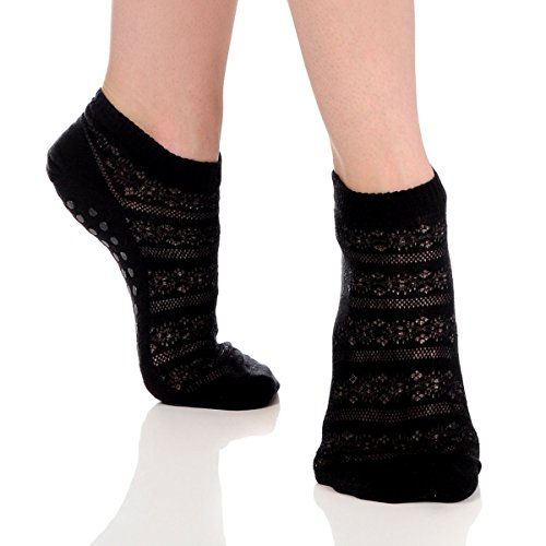 Great Soles Crochet Non Skid Sticky Grip Socks for Yoga, Pilates, Barre (Black)