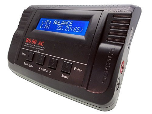 B680AC Dual Power (6Amps, 80Watts): LiPo, LiIon, LiFe, NiCd, NiMh AC/DC Balancing Battery Charger w/ Deans T-Plug, JST, Futaba/Rx Receiver, Glow Plug, Alligator Clips Connectors (Cheap Lipo Batteries compare prices)