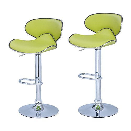 Adeco Lime Green Cushioned Leatherette Adjustable Barstool Chair, Curved Back, Chrome Finish Pedestal Base (Set of two)