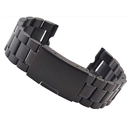 Japace® 22mm Orologio da Polso Stainless Steel Watch Strap Band Cinturino in Metallo Acciaio Inox per Motorola Smartwatch Moto 360 - Nero