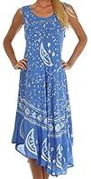 Sakkas Womens Batik Moon and Stars Caftan Tank Dress