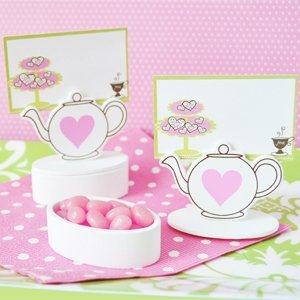 Teapot Place Card Favor Boxes with Designer Place Cards (set of 12) - Baby Shower Gifts & Wedding Favors
