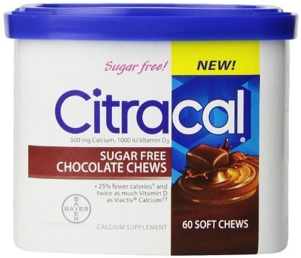 Citracal Sugar Free Chocolate Chews, 60 Count (2 Pack)