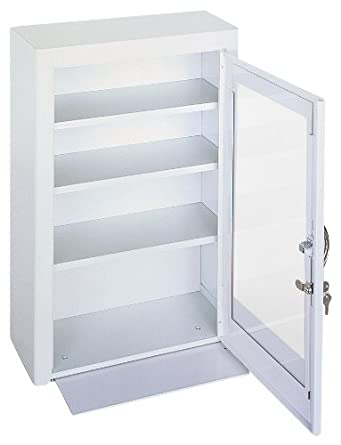 "Durham 518-43-PD White Cold Rolled Steel Medicine Storage Cabinet with Plexiglass Door, 18"" Width x 27"" Height x 8"" Depth"
