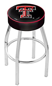 "Texas Tech Red Raiders (L8C1) 25"" Tall Logo Bar Stool by Holland Bar Stool Company (with Single Ring Swivel Chrome Solid Welded Base)"