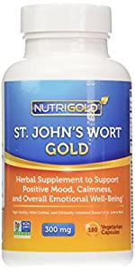 Nutrigold St. John's Wort Gold (European Pharma Grade) (Clinically-proven), 300 mg, 180 veg. capsules