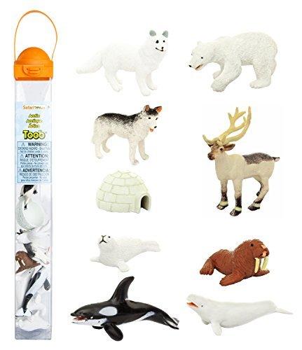safari-ltd-arctic-toob-with-10-fun-figurines-including-a-harp-seal-husky-caribou-arctic-rabbit-kille