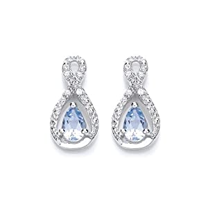 Chic 9ct White Gold Sky Blue Topaz and Diamond Earrings
