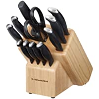 Kitchen Aid 12-Piece Derlin Black Cutlery Set with End Cap Cutlery Block Set