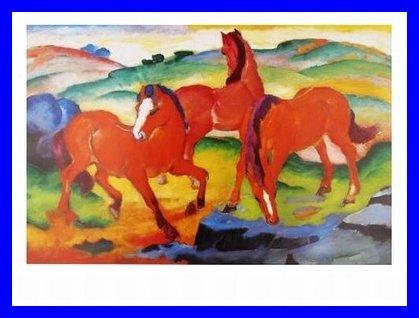 Franz Marc Die roten Pferde Poster Kunstdruck mit Alu Rahmen in blau