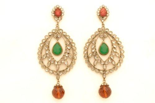 Fashion Balika Fashion Jewelry Gold-Plated Dangle & Drop Earring For Women Red-BFJER058 (Yellow)