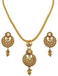 JFL - Traditional Ethnic One Gram Gold Plated Kundan Designer Pendant Set For Women And Girls