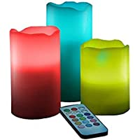 ShadowFax Remote Color Changing LED Real Fresh Wax Pillar Candle With Fragance Vanilla