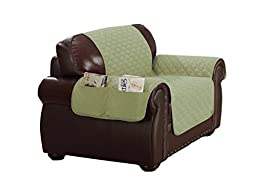 Duck River Textiles Reynold Reversible Water Resistant Chair Cover In Sage/Chocolate (with Pockets!), Geometric