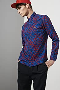 L!ve Long Sleeve Cotton Twill Tropical Print Woven Shirt