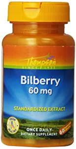 Thompson Bilberry Extract Veg Capsules, 60 Mg, 60 Count