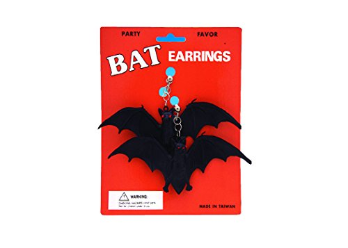 Loftus Halloween Rubber Bat Clip On 2 Pack Earrings Black One Size