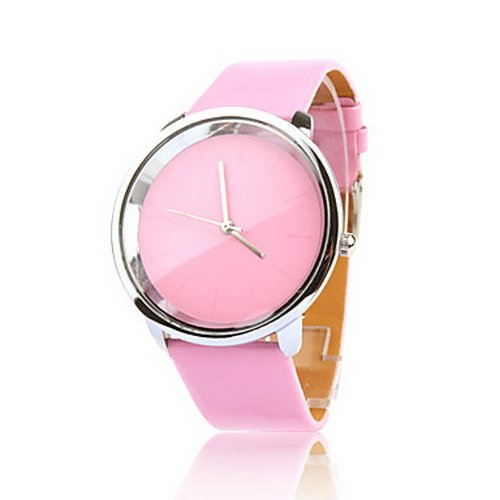 Pink PU Band Analog Quartz Pink Dial Women's Watch
