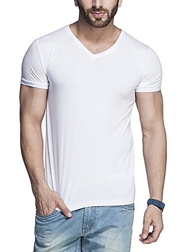 Tinted Men's Cotton Lycra V-Neck T-Shirt (TJ101CRH-WHITE-M)