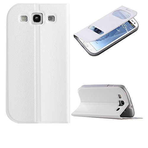 Samsung Galaxy S3 Case, Ulak Pu Leather Flip Case Cover With Window For Samsung Galaxy S3+Screen Protector And Stylus(White S-View)