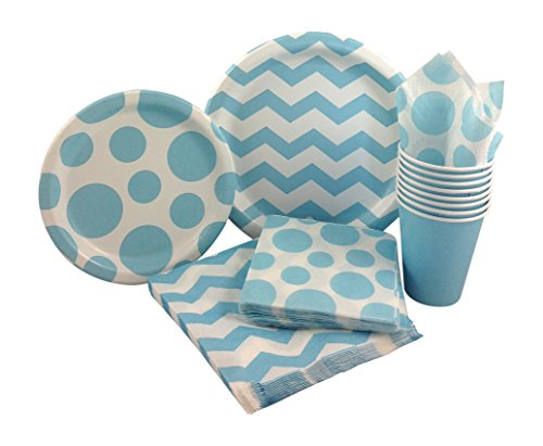 Pastel Blue & White Chevron Dot Party Supply Pack! Bundle Includes Paper Plates, Napkins, Cups for 8 Guests (Baby Blue Party Supplies compare prices)