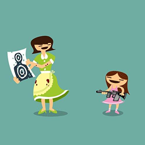 """""""Good Job Baby"""" Funny Mom & Daughter Machine Gun Target Practice - Vinyl Sticker front-650771"""