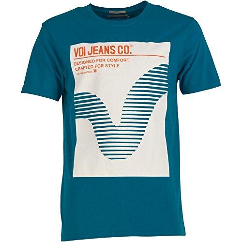 Blau/Weiß/Orange Voi Jeans Herren Booker T-Shirt Blau - L To Fit Chest 38-40 Euro Large