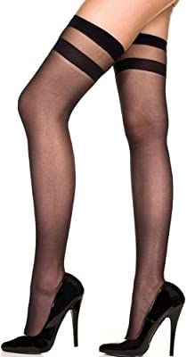 ToBeInStyle Women's Sheer Thigh Hi Striped Stockings