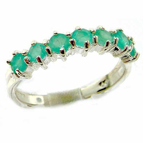 Solid 14ct White Gold Womens Emerald Anniversary Eternity Ring - Size X - Finger Sizes K to Y Available - Perfect Gift for Mum, Mother, Wife, Daughter, Grandaughter, Grandmother, Grandma, Bridesmaids, Best Friend, Aunty